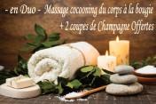 Massage cocooning du corps à la bougie en DUO + 2 coupes de Champagnes offertes